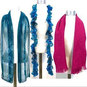 Lot of 3 Scarves Teal Blue Hot Pink Sequin Knit